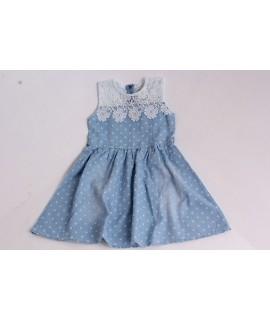 Dievčenské rifľové šaty s krajkou