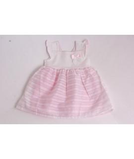 Dievčenské pásikavé šaty - ružovo-biele