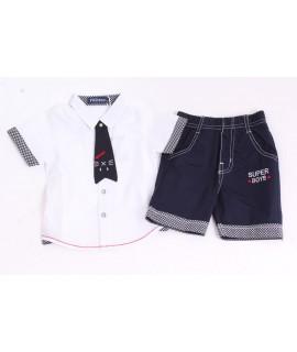 Chlapčenský komplet (biela košeľa+krátke nohavice)