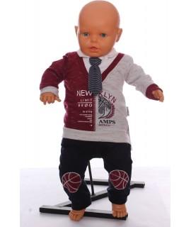 Chlapčenská súprava s kravatou - tmavomodro-bordová