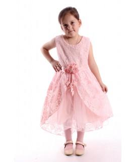 Dievčenské spoločenské šaty krajkové s tylom - marhuľové