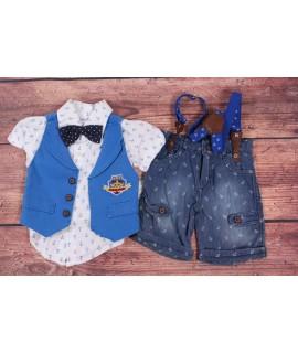 Chlapčenská letná súprava s motýlikom a vestkou - bielo-modrá