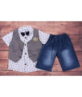 Chlapčenská letná súprava s motýlikom a vestou - sivo-biela