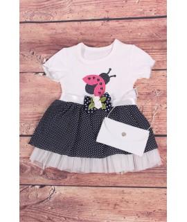 Dievčenské šaty s lienkou a taštičkou - tmavomodro-biele