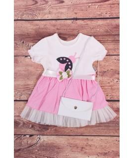 Dievčenské šaty s lienkou a taštičkou - bledoružovo-biele