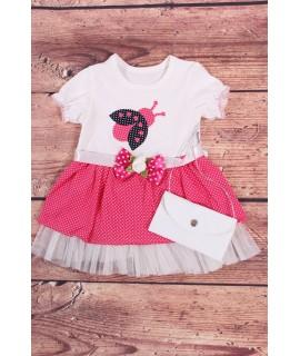 Dievčenské šaty s lienkou a taštičkou - ružovo-biele