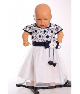 Dievčenské šaty s tylom - modro-biele