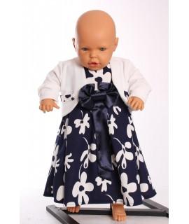 Dievčenské šaty s bolerom - smotanovo-modré
