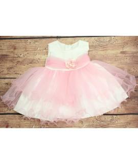 Dievčenské šaty s ružou - ružovo-biele