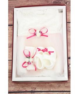 Kojenecká súprava s mašličkou - ružovo-biela