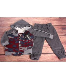 Chlapčenská 3-dielna súprava so zateplenými nohavicami - sivá