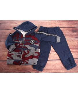 Chlapčenská 3-dielna súprava so zateplenými nohavicami - modrá