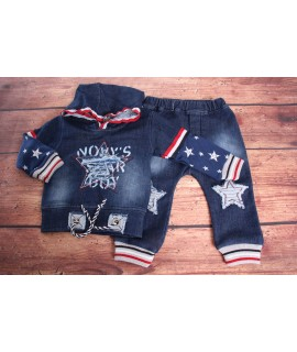 Chlapčenská rifľová súprava s hviezdami - modrá