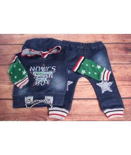 Chlapčenská rifľová súprava s hviezdami - zeleno-modrá