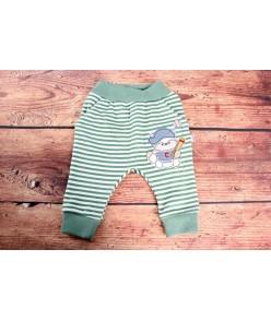 Detské pásikavé nohavice - zelené