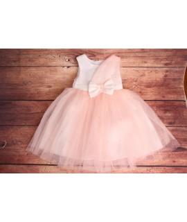 Detské spoločenské šaty - ružové s tylom