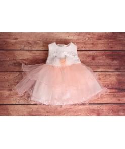Detské spoločenské šaty s krajkou - ružové