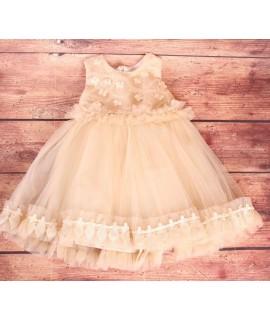 Detské spoločenské šaty s tylom béžove (2r)