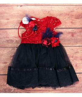 Detské spoločenské šaty s flitrami červeno-modré