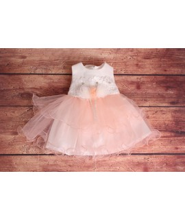 Detské spoločenské šaty s ružami-bledo ružové