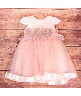 Detské spoločenské šaty s krajkou-staroružové