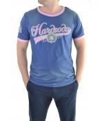 Modro-ružové tričko s nápisom Hardsoda