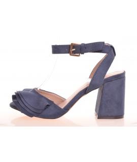 a228dadf6e6be Dámske letné semišové sandále s volánikmi - modré (LL-70P) (v.