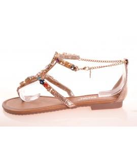 afd745d87eac3 Dámske letné sandále s farebnými kamienkami - bronzové (JH37P)