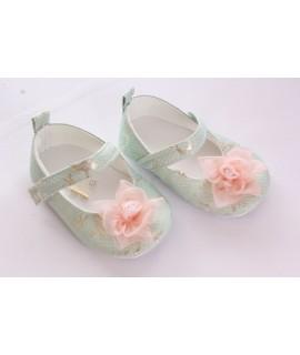 Baby topánky vzorované, zdobené kvetom - zlatotyrkysové
