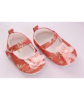 Baby topánky vzorované, zdobené kvetom - zlatolososové