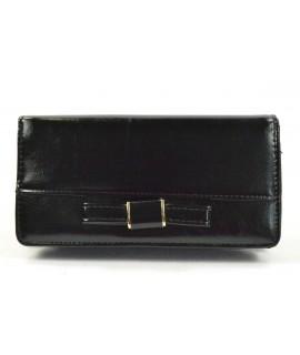 Dámska peňaženka s mašľou - čierna (19x10 cm)