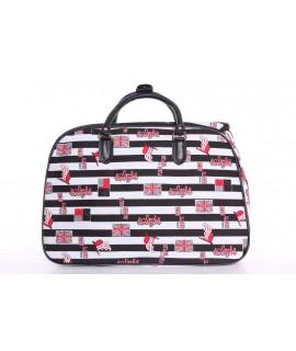 Cestovná taška pásikavá (50x35x29 cm) - bielo-čierna