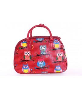 """Cestovná taška """"SOVY"""" (42x28x24 cm) - červená"""