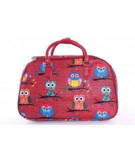 """Cestovná taška """"SOVY"""" (45x29x25 cm) - červená"""