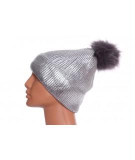 Dámska lesklá zateplená čiapka s brmbolcom (CH-4) - strieborná