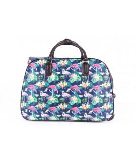 Cestovná taška na kolieskach VZOR D3244 (52x37x30 cm) - ružovo-modrá