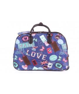 Cestovná taška na kolieskach VZOR D3243 (52x37x30 cm) - modrá