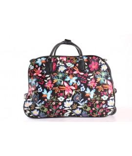 Cestovná taška na kolieskách (D3257) S KVIETKAMI - čierna (52x37x30 cm)