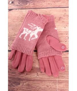 Dámske rukavice dvojdielne (18-382) - staroružové