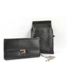 Čašnícka peňaženka s puzdrom - čierna (11x18 cm)