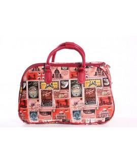 Cestovná taška s nálepkami (C3251) - červená (41x26x22 cm)