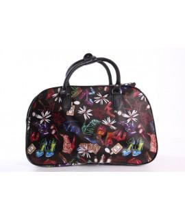 Cestovná taška (C3259) - topánky a kvety - čierna (41x26x22 cm)