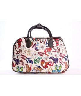Cestovná taška (C3259) - topánky a kvety - krémová (45x29x24 cm)