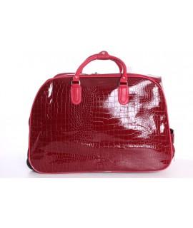 Cestovná taška na kolieskach lakovaná (D3224) - bordová (52x37x30 cm)