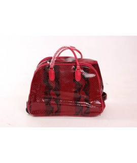 Cestovná taška na kolieskach s hadím vzorom (53x39x30) - červená