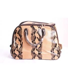 Cestovná taška na kolieskach s hadím vzorom (53x39x30) - béžová