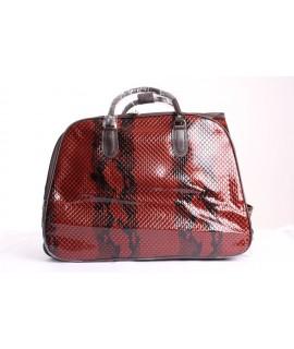 Cestovná taška na kolieskach s hadím vzorom (53x39x30) - tmavohnedá