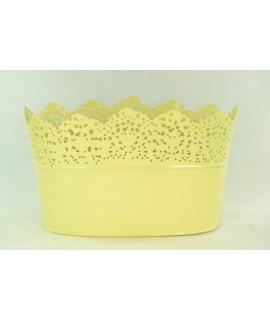 Kovová nádoba oválna - žltá (v. 14cm, priemer 24cm)