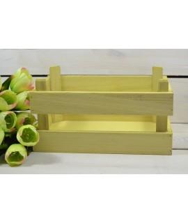 Drevená debnička - žltá (25x11x17 cm)