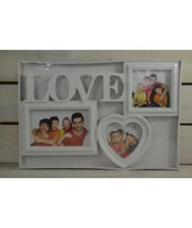 Fotorám na 3 fotky LOVE - biely (36,5x24,5 cm)